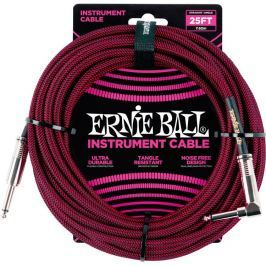 Ernie Ball 25' Braided Straight / Angle Instrument Cable Black/Red
