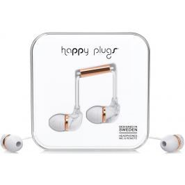 Happy Plugs In-Ear White Marble Rose Gold Małe słuchawki douszne