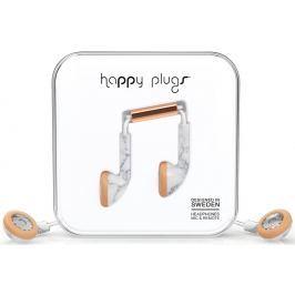 Happy Plugs Earbud White Marble Rose Gold Małe słuchawki douszne