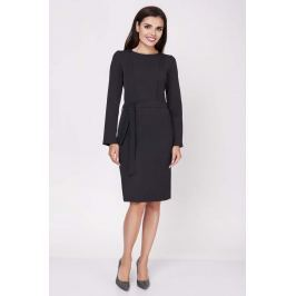 Czarna Ołówkowa Wyjściowa Sukienka z Wiązanym Paskiem