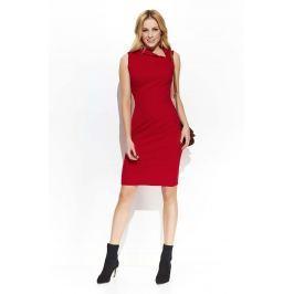 Czerwona Elegancka Sukienka z Efektownym Kołnierzykiem