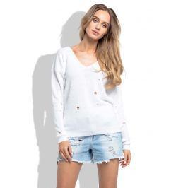 Biały Klasyczny Sweter z Dekoltem w Szpic z Dziurami