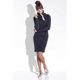 Czarna Wełniana Sukienka z Dużym Golfem