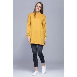 Miodowy Oversizowy Długi Sweter z Półgolfem