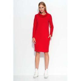 Czerwona Sukienka Dresowa z Wywijanym Golfem
