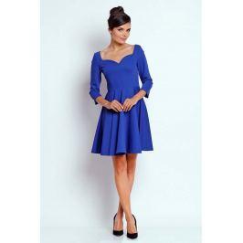 Kobaltowa Kobieca Rozkloszowana Sukienka z Dekoltem w Serce