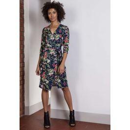 Sukienka w Kwiaty z Kopertowym Dekoltem