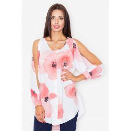 Bluzka Koszulowa z Rozciętymi Rękawami w Odcieniach Różu
