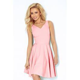 Różowa Sukienka Elegancka Rozkloszowana na Szerokich Ramiączkach