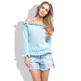 Błękitny Sweter z Dekoltem Typu Carmen