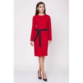 Czerwona Ołówkowa Wyjściowa Sukienka z Wiązanym Paskiem