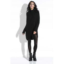 Czarny Sweter-Tunika z Półgolfem