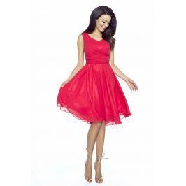 Czerwona Sukienka Koktajlowa z Szyfonu