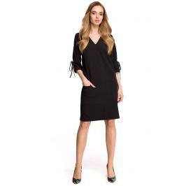 Czarna Casualowa Sukienka z Wiązaniem na Rękawie