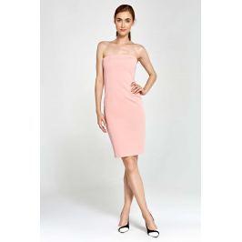 Różowa Sukienka Wieczorowa Ołówkowa Tuba z Odkrytymi Ramionami