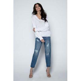 Biały Sweter Krótki Oversizowy z Dekoltem V