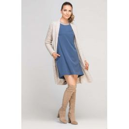 Niebieska Sukienka Trapezowa z Ozdobną Listwą przy Dekolcie