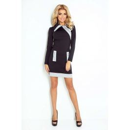 Czarno Szara Sukienka Ołówkowa z Kontrastowymi Suwakami