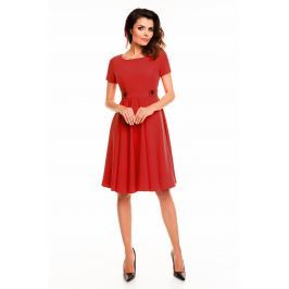 Czerwona Rozkloszowana Sukienka z Podkreśloną Talią