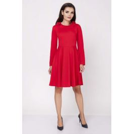 Czerwona Rozkloszowana Wizytowa Sukienka z Falbanką przy Dekolcie