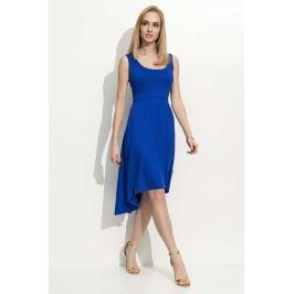 Chabrowa Sukienka Asymetryczna na Szerokich Ramiączkach