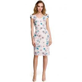 Dopasowana Sukienka w Pastelowy Deseń z Ozdobnym Rękawkiem - Wzór 3