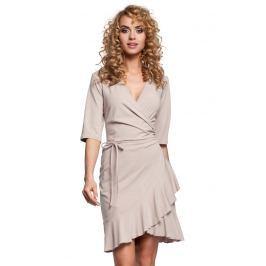 Beżowa Sukienka Kopertowa z Falbanką