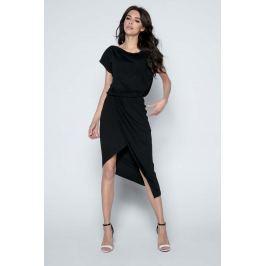 Czarna Sukienka z Kopertowym Asymetrycznym Dołem