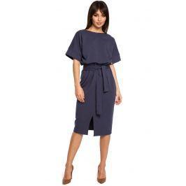 Niebieska Sukienka Midi z Rozcięciem na Przodzie