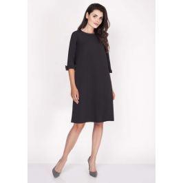 Czarna Sukienka Trapezowa Mini z Uroczymi Kokardkami