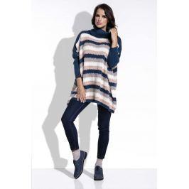 Granatowy Sweter Oversizowy w Paski z Golfem
