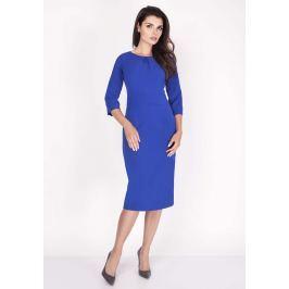 Kobaltowa Sukienka Midi z Rękawem za Łokieć