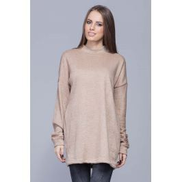Beżowy Oversizowy Długi Sweter z Półgolfem