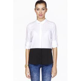 Biała Koszulowa Bluzka z Kontrastowym Panelem z Długim Podpinanym Rękawem