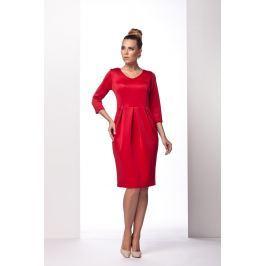 Czerwona Sukienka Bombka z Długim Rękawem