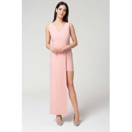 Różowa Wyjściowa Dopasowana Sukienka z Asymetrycznym Dołem