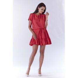 Różowa Mini Sukienka w Stylu Boho z Krótkim Rękawem