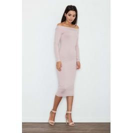 Różowa Ołówkowa Sukienka za Kolano z Szerokim Dekoltem