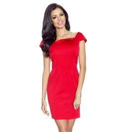 Czerwona Sukienka Mini z Dekoltem Karo