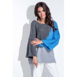 Trójkolorowy Niebieski Sweter Damski Typu Nietoperz