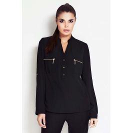 Czarna Koszulowa Bluzka ze Stójką z Podpinanym Rękawem