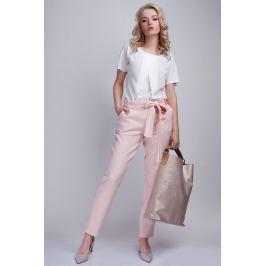 Różowe Proste Spodnie z Wiązana Szarfą
