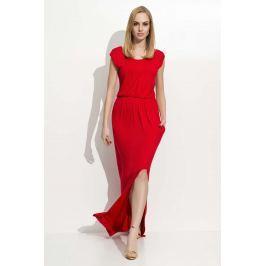 Czerwona Maxi Sukienka z Rozcięciem na Boku