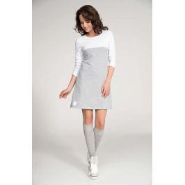 Szaro Biała Sukienka Dresowa z Kimonowym Rękawem