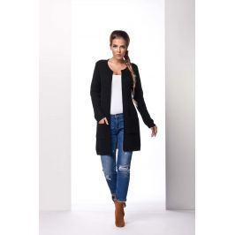 Czarny Płaszczowy Sweter bez Zapięcia