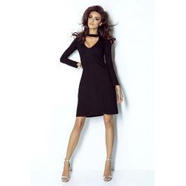 Czarna Casualowa Luźna Sukienka z Chokerem
