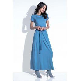 Niebieska Sukienka Maxi z Wiązanym Paskiem