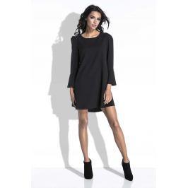 Czarna Sukienka Mini o Linii A z Dekoltem na Plecach