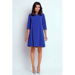 Kobaltowa Wizytowa Sukienka o Linii A z Zakładką