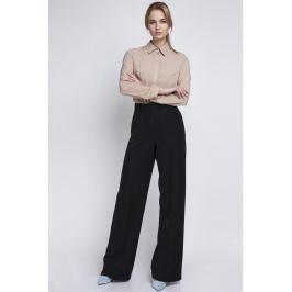 Czarne Eleganckie Spodnie z Szerokimi Nogawkami w Kant